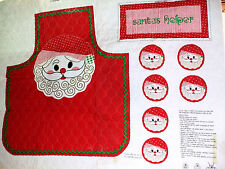 Vintage 70's Cut & Sew Quilted Santa Face Christmas Apron & Coaster Fabric Panel