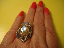 Ladies Ring W/Beautiful Yellow Gold Color Glass Stone Silver Plate  Sz 9.0 #R41.