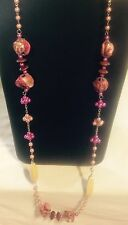 "40"" Fair trade pink shell cluster glass pearls wooden beads Extra long necklace"
