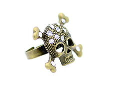 Adjustable vintage gold crystal crossbones skull ring biker punk goth