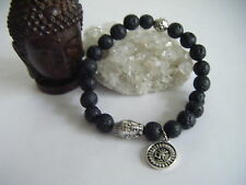 Spiritual Inspirational Men's Bracelet Lava Rock Buddha Om Strength Courage