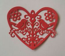 5x Die Cut HEARTS with Birds- Cards,Christmas,Weddings,St.Valentine, Love- RED