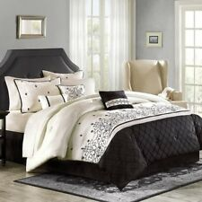 King Size Comforter Set 7 Piece Bedding Black Off-White Modern Bedroom Bedspread
