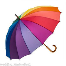 RAINBOW SHELTA LONG HANDLE RAIN / SUN UMBRELLA 16 Colour 104cm Diameter *UPF25*