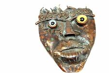 SIGNED Vtg CALIFORNIA Modernist BOLIN Copper FACE Pin Brooch w. Taxidermy Eyes