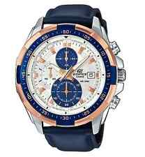 CASIO EDIFICE EFR539L-7C Chronograph Ion Plated Bezel Navy Leather Band 100m WR