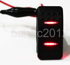 Waterproof ON-OFF-ON Marine Boat Rocker Switch DPDT 7 Pin 2 LED Light 12V 20A