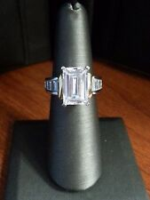 14K WHITE & YELLOW GOLD EMERALD CUT CUBIC ZIRCONIA  RING SIZE 6