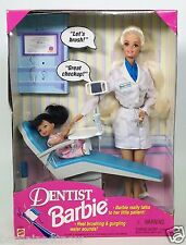DENTIST BARBIE BLONDE LITTLE PATIENT BRUNETTE NRFB