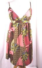 XXI Forever 21 Sundress Large Halter Top Spaghetti Straps Pink Olive NWT