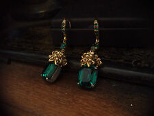 Vintage Emerald Green Crystal & Seed Beads Drop Earrings. Miriam Haskell Style