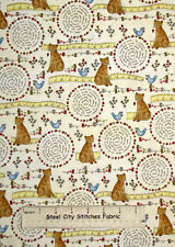 Henry Glass Stitches Collection Kitty Cat Bird Sewing Theme Cotton Fabric YARD
