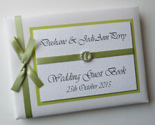 PERSONALISED WEDDING GUEST BOOK WITH DIAMONTE BUCKLE (WHITE) - ANY COLOUR