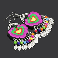Handmade Chinese Style Traditional Ethnic Cloth Embroidery Totem Eardrop Earring