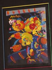 "*PETER MAX* Original Acrylic Painting paper Flowers 12""x16"""