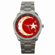 Muslim Crescent Moon and Star Islam Stainless Steel Sport Watch New!