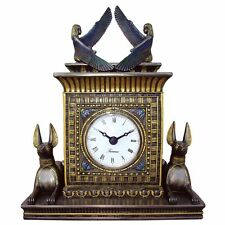 """Egyptian Revival Style God Anubis and Winged Isis Quartz Desk Mantle Clock 8.5"""""""
