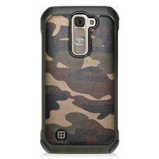 For LG K7 / Tribute 5 -Hard Gummy Rubber Hybrid Armor Case Cover Camo Green Army