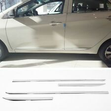 Chrome Side Door Skirt Sill Accent Molding Garnish 4p For 2011-2015 Kia Picanto