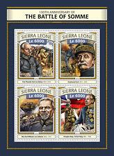 Sierra Leone 2016 MNH WWI WW1 Battle of Somme 4v M/S Ferdinand Foch Stamps