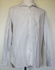 Alfani Slim Fit Button-Front White/Gray Striped Roll Tab L/S Cotton Shirt XL