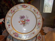 Set of 9 Wm. Guerin LIMOGES Dinner Plates-Dresden Flowers w/Heavy Gold