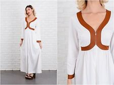 Vintage 70s White + Brown Mod Dress Striped Maxi Long sleeve Small S