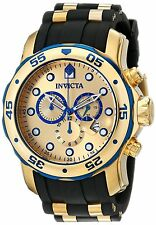 Reloj Invicta Gold Crystal Blue Hombre Watch Bracelet Rubber Band Steel Case Uhr