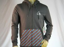 QUIKSILVER ZIP-UP GRAY/STRIPPED HOODED SWEATSHIRT/HOODIE W/ LOGO size Medium