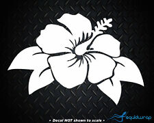 Hibiscus Flower Cute Girly Leaves Car Decal / Laptop Sticker - White 6""