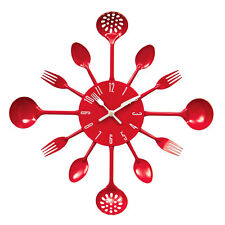 Wall Clock Cutlery Metal New Range Of Colours Stylish For Home Kitchen Office