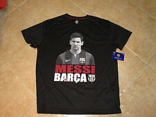 "FC BARCELONA (FCB) ""MESSI #10"" PHOTO LOGO TOP SIZE (XL) BLACK W/PLAYER IMAGE NWT"