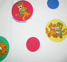 BETWEEN THE LIONS WHITE TWIN BED SHEET Red Blue Yellow Green Polka Dot PBS Kids