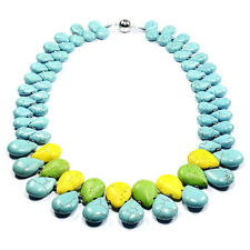 Vintage Rainbow Turquoise Necklace Handcrafted Semi-Precious Gemstone Jewellery