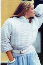 ~ Knitting Pattern For Lady's Dolman Sleeve Mohair Sweater ~