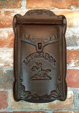 Cast Iron Vintage Wall-Mount Double-Lid Letter Mail Box