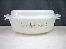 Fire King Candle Glow Milk Glass Covered Casserole Baking Dishes Ovenware