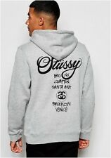 Stussy Hoodie With World Tour Back Print - Grey UK XL Extra Large RRP £70 (ca18)