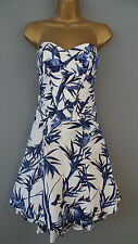 Karen Millen dress tropical floral bird bamboo print blue white corset BNWT UK 8