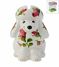 BETSEY JOHNSON BOXED CRITTER PIGGY BANK WHITE FLORAL POODLE DOG CERAMIC RUBBER