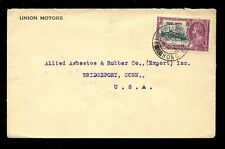 HONG KONG 1935 KG5 SILVER JUBILEE 20c FRANKING to CONNECTICUT...UNION MOTORS ENV