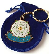 Yorkshire Rose Enamel Keyring in Organza Gift Pouch Ideal Small Gift (T620E)