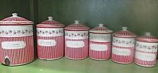 STUNNING  Antique French Enamel Ware Canisters  Set of 6 Floral & Stripe Shabby