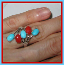 Sleeping Beauty Turquoise 3.95 cts Mediterranean Coral Ring S Silver 925 sz 7