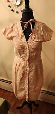 tulle anthropologie smock type dress mod nude tan red button down cap sleeves