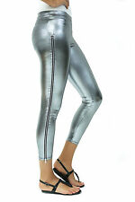 Indero Silver Shinny Faux Leather Zipper Leggings - JF538 - Size Small - Medium