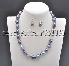 """D0281 17"""" 14mm Baroque Freshwater Pearl Necklace & Earring Panthera"""