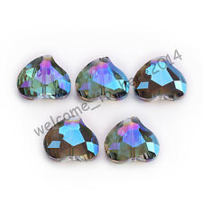 5pcs 20x16mm Faceted Crystal Glass Charms Heart Spacer Beads Blue Colorized