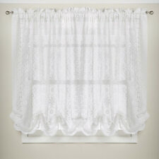 "Hopewell Floral Heavy White Lace Kitchen 58"" x 63"" Curtain Shade"