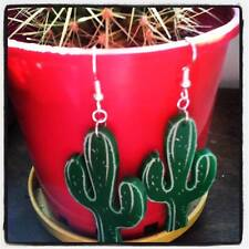 'DESERT DWELLER' CACTUS ACRYLIC EARRINGS ETCHED LASER CUT / ROCKABILLY / RETRO